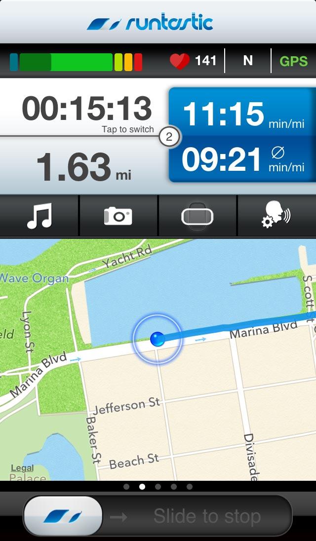 Runtastic App - Ansicht bei einem Lauf | Quelle: Runtastic