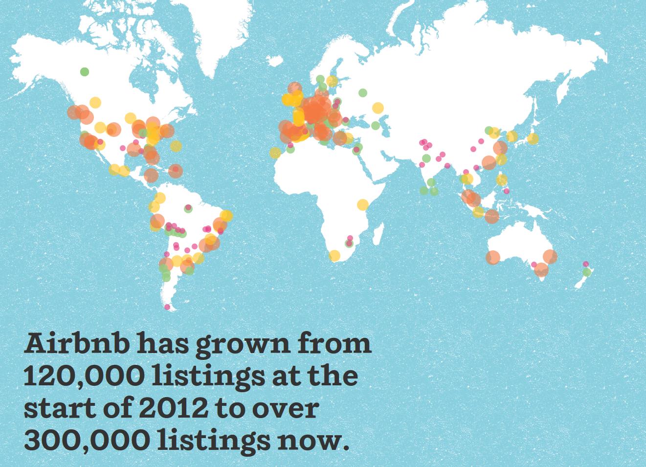 Airbnb ist von 120,000 Inseraten am Anfang auf über 300,000 gewachsen | Quelle: Airbnb