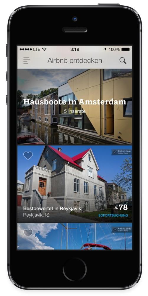 Mit Airbnb auch mit dem iPhone eine Unterkunft finden | Quelle: Airbnb