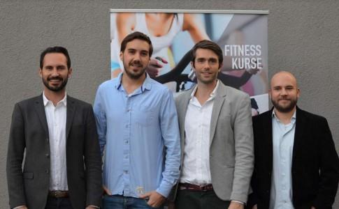 Die Gründer/Geschäftsführer v.l.n.r.: Moritz Kreppel (Urban Sports Club), Jan Wiesmann (fitengo), Benjamin Roth (Urban Sports Club) und Daniel Blumberg (fitengo)